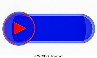 Blue glossy button on white background. illustration. 3d rendering