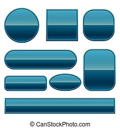 blue glossy buttons set in different shapes