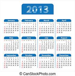 Blue glossy calendar for 2013. Sundays first. Vector illustration