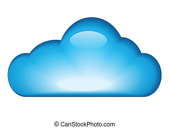 Blue glossy cloud isolated on white background. vector ...