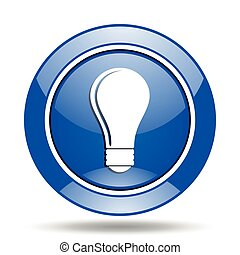 Blue glossy electricity vector icon