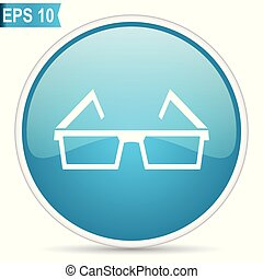 Blue glossy glasses vector icon isolated on white background