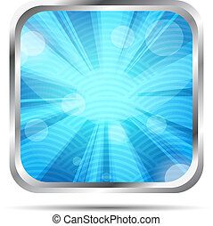 blue glossy icon with rays on a whi