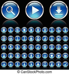 Blue glossy icons