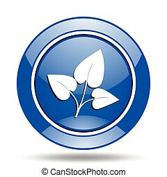 Blue glossy nature vector icon
