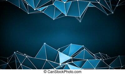 Blue glossy polygonal shape vibrating 3D render loop