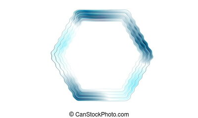 Blue glossy rippling hexagon tech video animation - Blue...