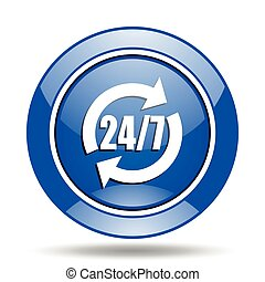 Blue glossy round 24h vector icon