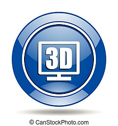 Blue glossy round 3d vector icon