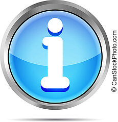 blue glossy round info icon button