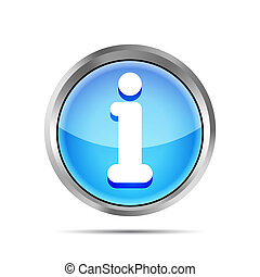 blue glossy round info icon button on a white background