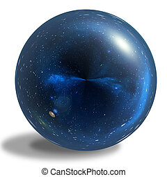 Blue glossy sphere isolated on white background