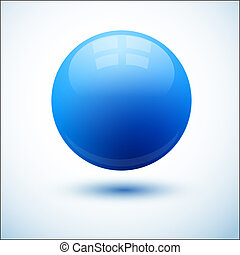 Blue glossy sphere with shadow
