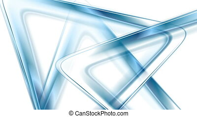 Blue glossy triangles abstract tech video animation - Blue...