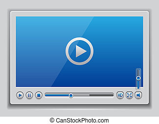 Blue glossy video player template , vector eps10...