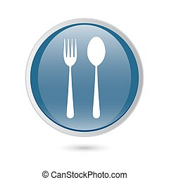 blue glossy web icon. Fork and spoon icon - restaurant sign,