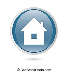 blue glossy web icon. home icon,