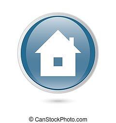 blue glossy web icon. home icon,