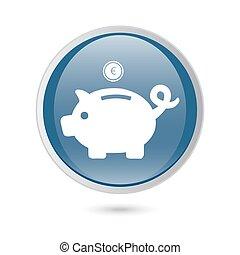 blue glossy web icon. Piggy bank - saving money.