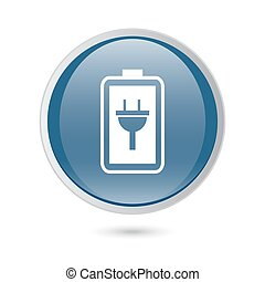 blue glossy web icon. Simple battery icon. Battery charge icon
