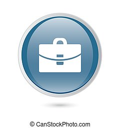 blue glossy web icon. Suitcase - Vector icon.