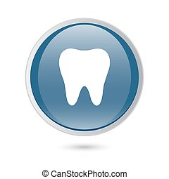 blue glossy web icon. tooth icon, icon.