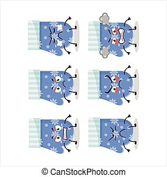 Blue gloves cartoon character with various angry expressions