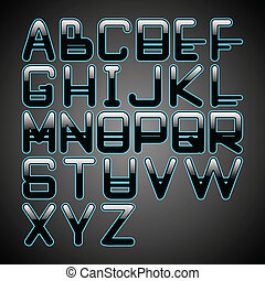 blue glow alphabet
