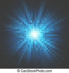 Blue glow star burst flare explosion light effect. Isolated on transparent background. EPS 10