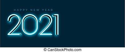 blue glowing 2021 new year neon banner design