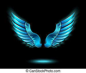 Blue glowing angel wings with metal shine and shadow symbol ...