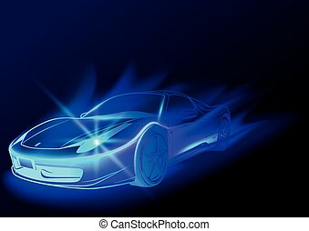Blue Glowing Car
