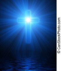 blue glowing christian cross