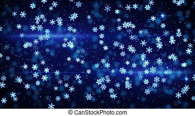 blue glowing christmas snowfall loop