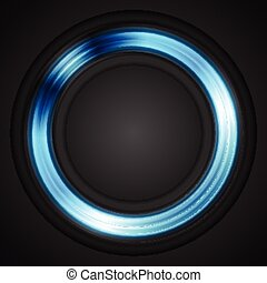 Blue glowing circle vector logo