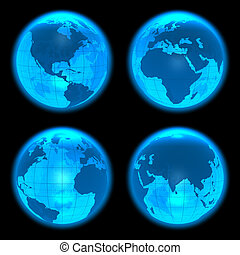 Blue glowing Earth globes set
