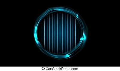 Blue glowing electric rings and neon lines video animation