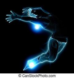 Blue glowing man
