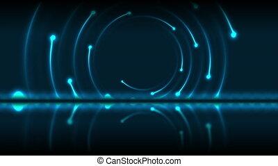 Blue glowing neon laser swirl technology motion background...