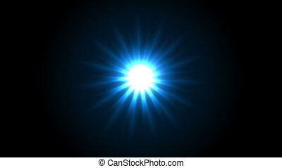 Blue glowing star beams abstract motion design