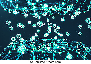 Blue glowing synapse. Artificial neuron in concept of artificial intelligence. Synaptic transmission lines of pulses. Abstract polygonal space low poly with connecting dots and lines, 3D rendering