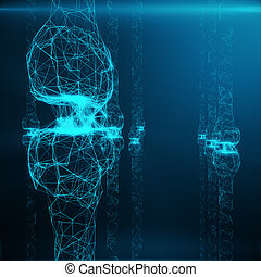 Blue glowing synapse. Artificial neuron in concept of artificial intelligence. Synaptic transmission lines of pulses.Abstract polygonal space low poly with connecting dots and lines, 3D rendering
