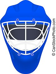 Blue goalie hockey helmet