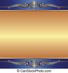 blue gold background with ornaments
