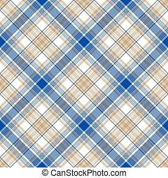 Blue gold tartan seamless pattern