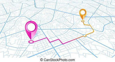 Blue GPS navigator pins on a blue roads map on white background