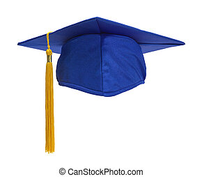 Blue Grad Hat Front - Blue Graduation Hat with Gold Tassel...