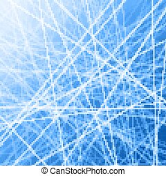 Blue gradient background with abstract ice pattern.