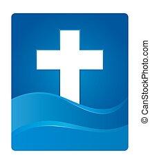 Blue Gradient Christianity Cross Symbol