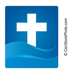 Blue Gradient Christianity Cross Symbol